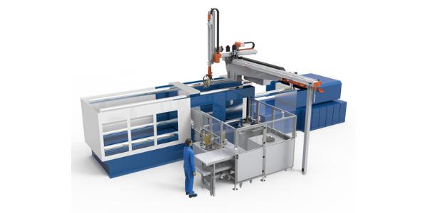 13 Soluções integradas de automação e células produtivas_In-molding inserting molding automatic system for cooling fan on automobile engine
