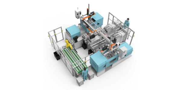 16 Soluções integradas de automação e células produtivas_Inserting the injection molding mystem for atomotive shift plate